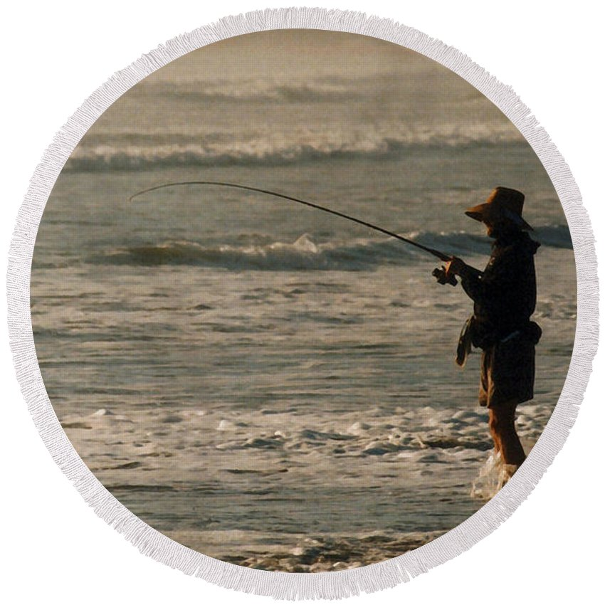 Fisherman Round Beach Towel featuring the photograph Fisherman by Steve Karol