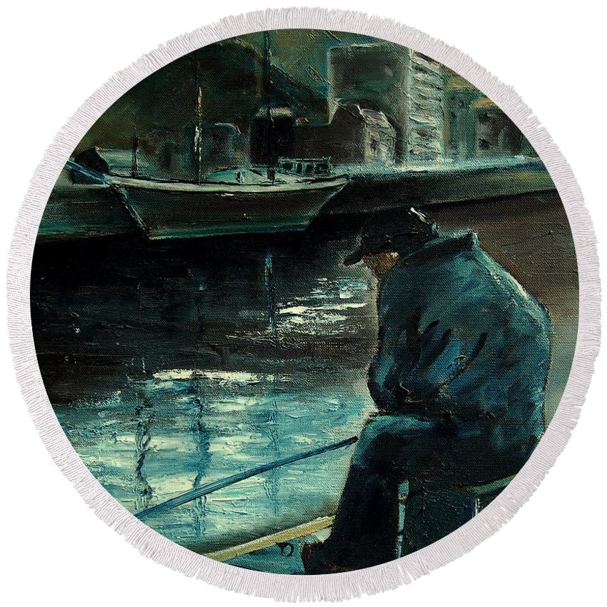 Figurative Round Beach Towel featuring the painting Fisherman's Patience by Pol Ledent