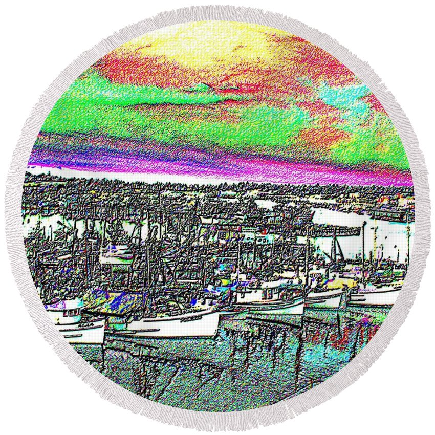 Seattle Round Beach Towel featuring the photograph Fishermans Terminal 2 by Tim Allen