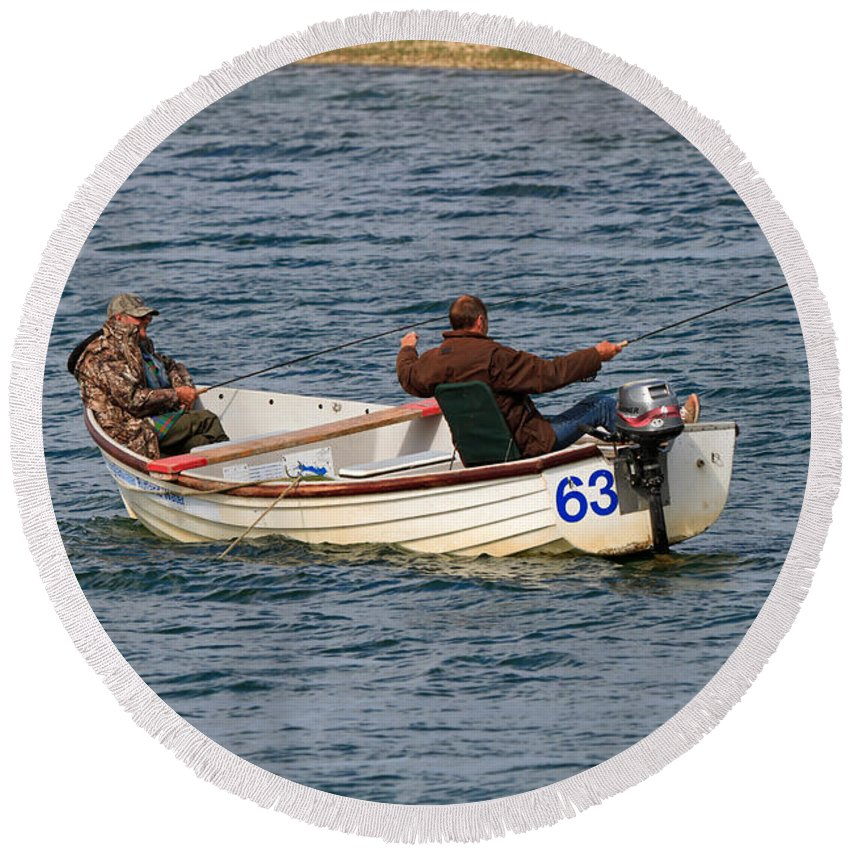 Fishermen Round Beach Towel featuring the photograph Fishermen In A Boat by Louise Heusinkveld