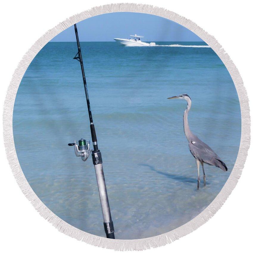 Heron Round Beach Towel featuring the photograph Fishermen by Zina Stromberg