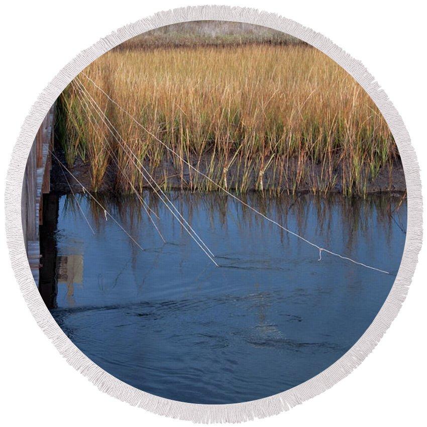 Charleston Round Beach Towel featuring the photograph Fishin' Lines by Kay Lovingood