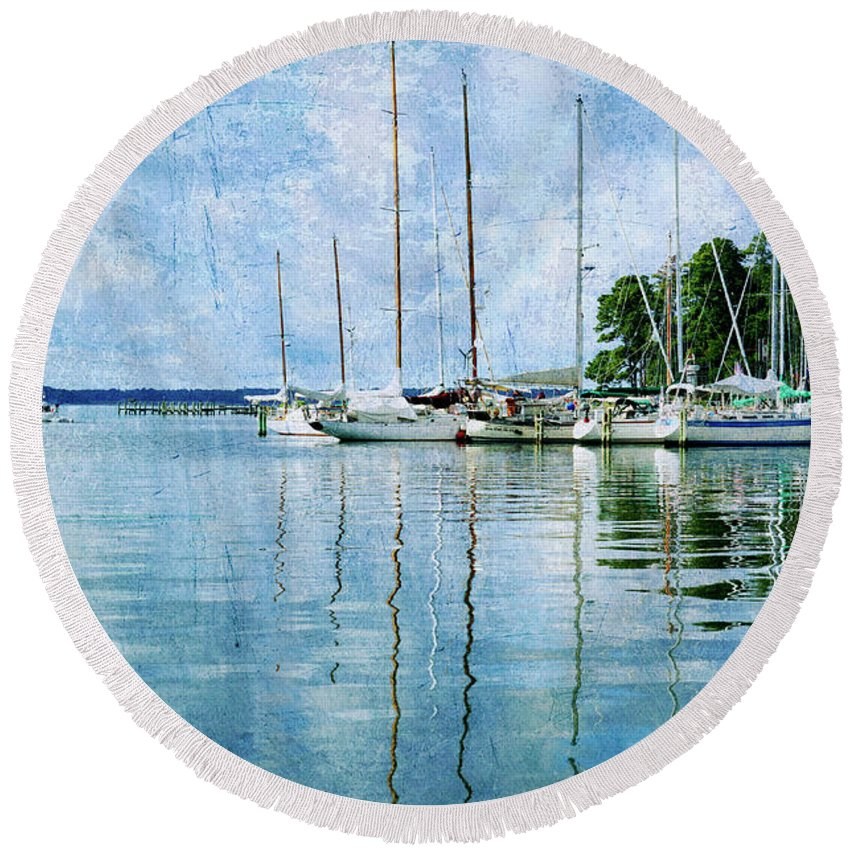 Round Beach Towel featuring the photograph Fishing Bay Reflections by Guy Crittenden