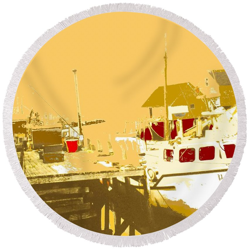 Red Round Beach Towel featuring the photograph Fishing Boat At The Dock by Ian MacDonald