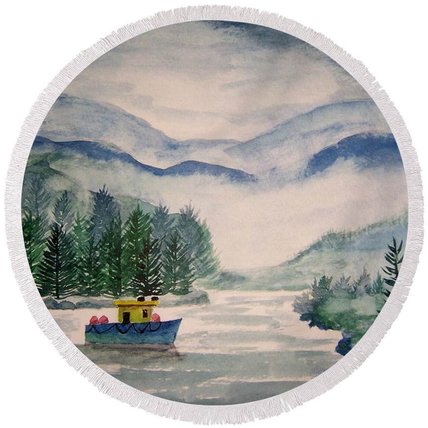 Landscape Round Beach Towel featuring the painting Fishing Boat by B Kathleen Fannin