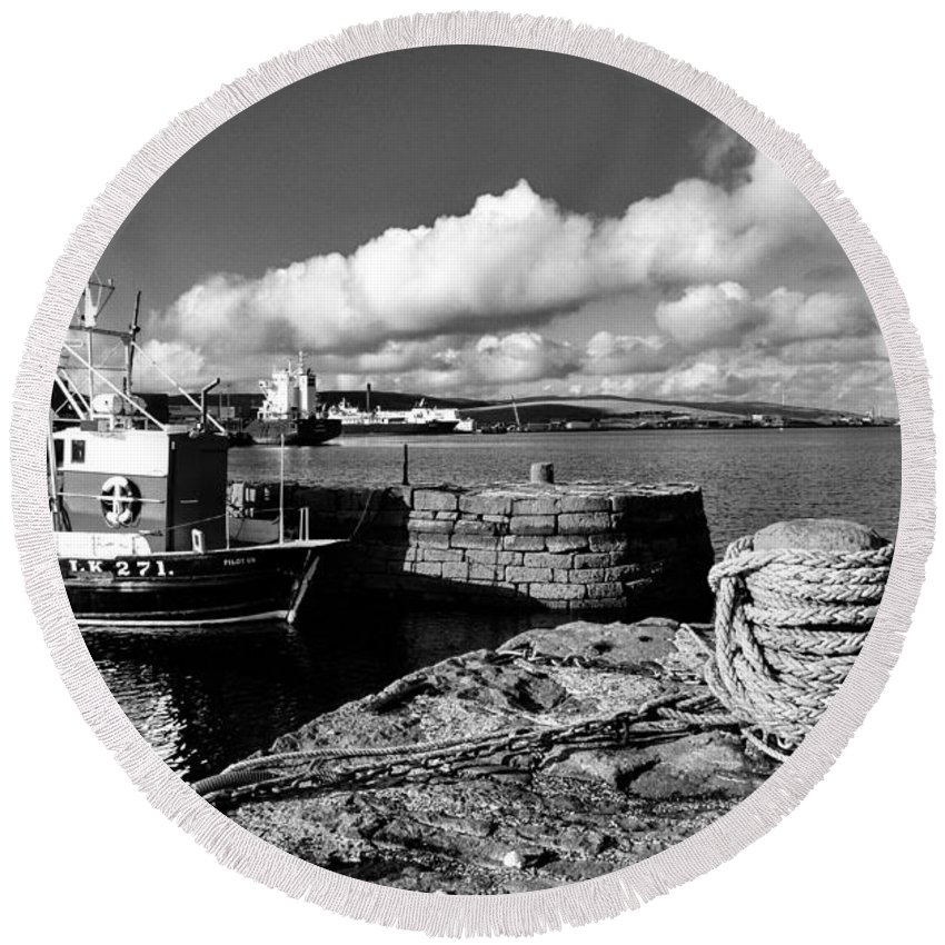 Lerwick Round Beach Towel featuring the photograph Fishing Boat Lerwick Shetland by Lynn Bolt