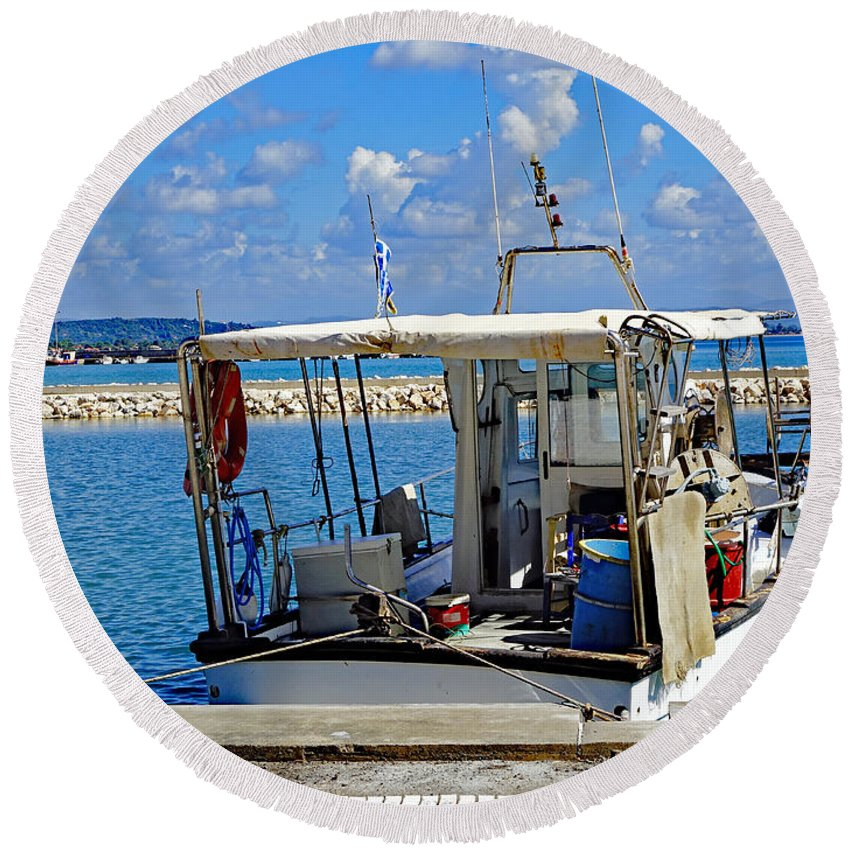 Fishing Boat Round Beach Towel featuring the photograph Fishing Boat Moored In The Harbor Of Katakolon Greece by Richard Rosenshein