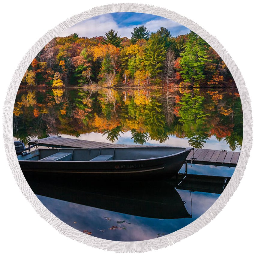 Wisconsin Round Beach Towel featuring the photograph Fishing Boat On Mirror Lake by Rikk Flohr