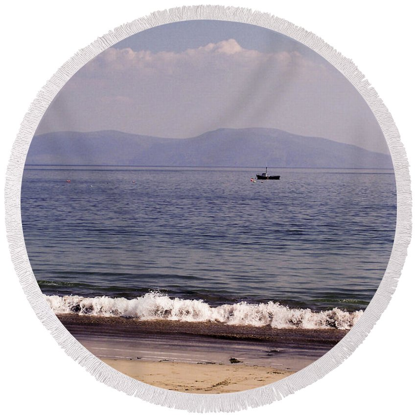 Irish Round Beach Towel featuring the photograph Fishing Boat On Ventry Harbor Ireland by Teresa Mucha