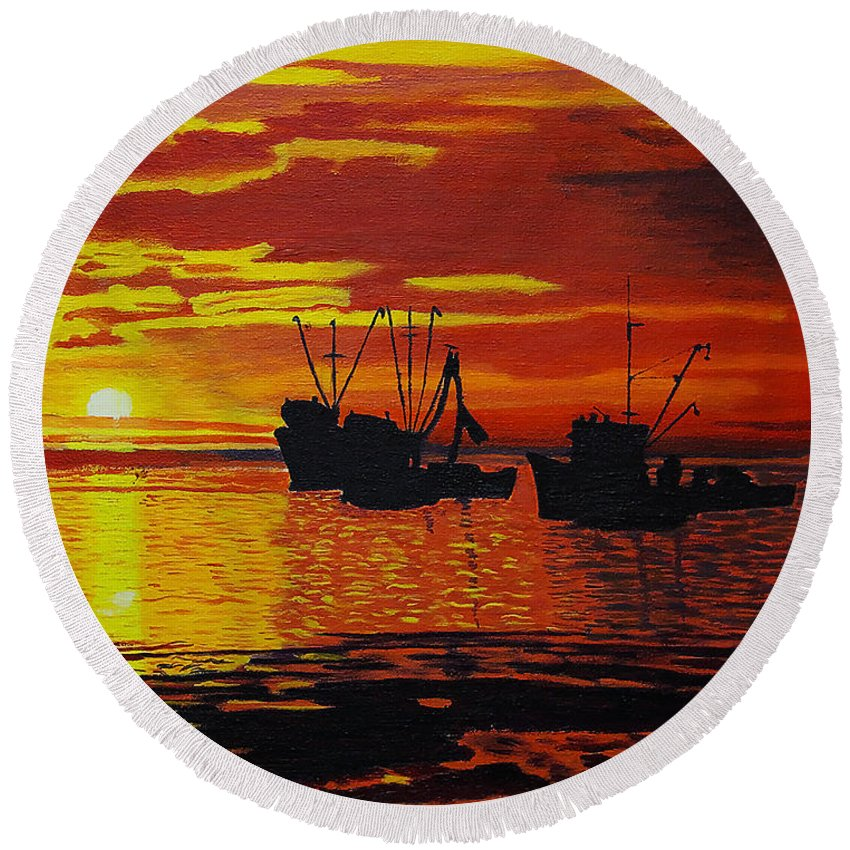 Sunsets Round Beach Towel featuring the photograph Fishing Boats At Sunset by Rich Walter