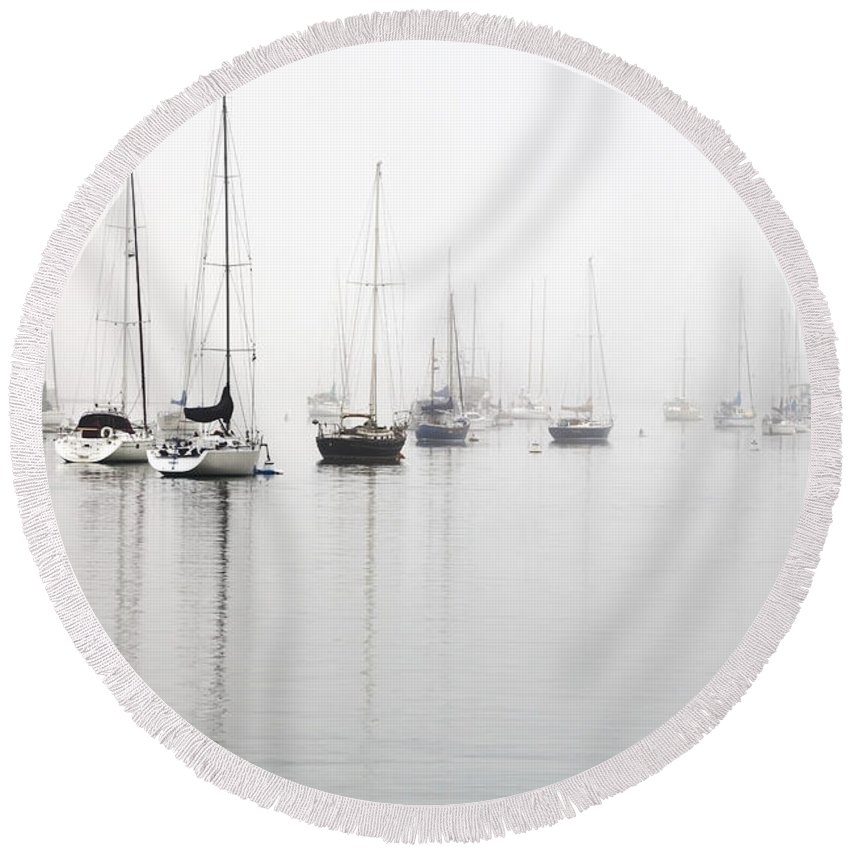Minimalist Round Beach Towel featuring the photograph Boats In Morro Bay Fog by Sharon Foelz