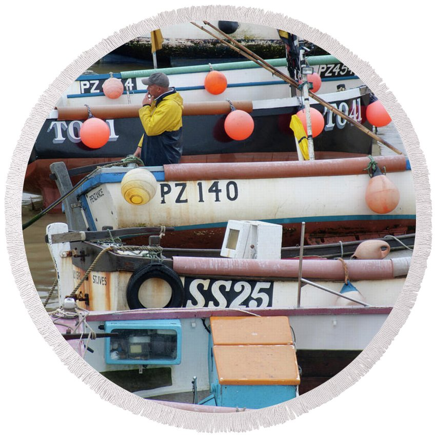 Fishing Boat Fisherman Buoy Water Boats Fish St Ives Cornwall England Uk Sea Ocean Round Beach Towel featuring the photograph Fishing Boats by John R Moore