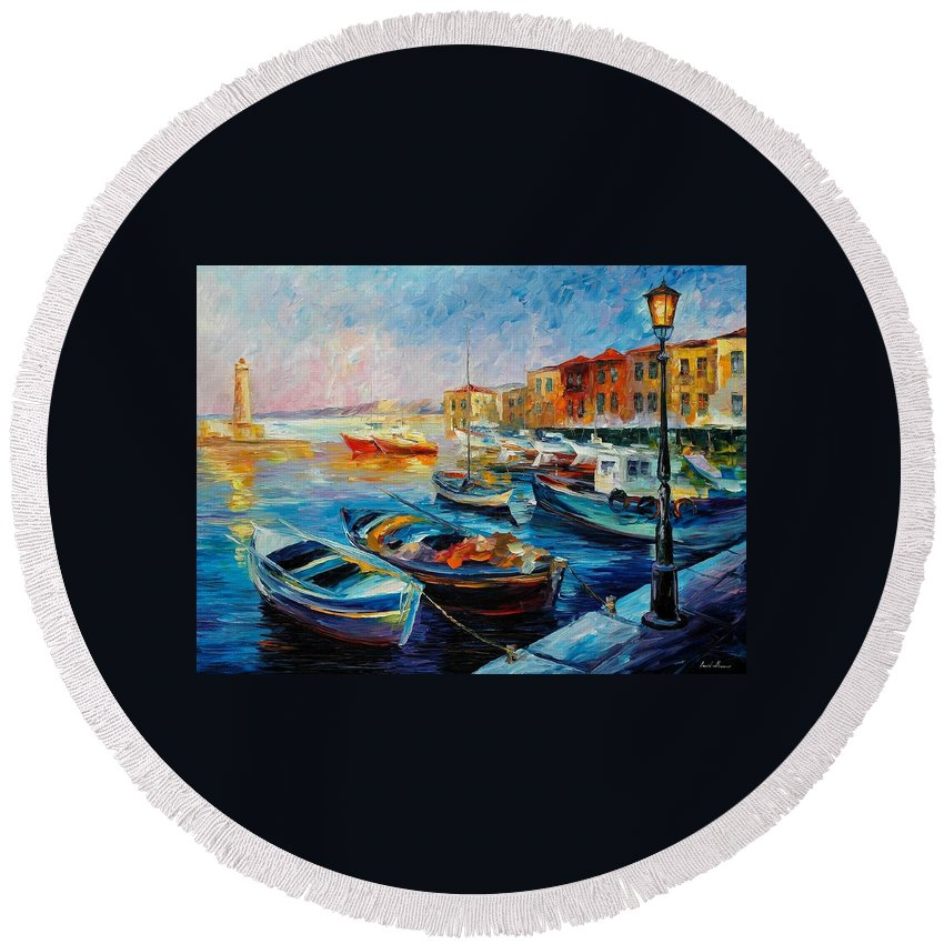 Afremov Round Beach Towel featuring the painting Fishing Boats by Leonid Afremov