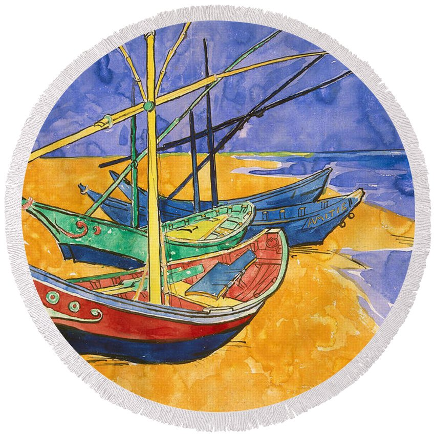 Vincent Van Gogh Round Beach Towel featuring the painting Fishing Boats on the Beach at Saintes Maries de la Mer by Vincent Van Gogh