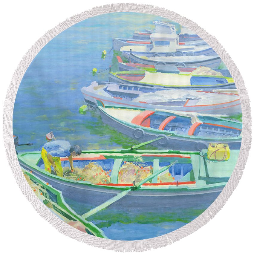 Rowing Boats Round Beach Towel featuring the painting Fishing Boats by William Ireland