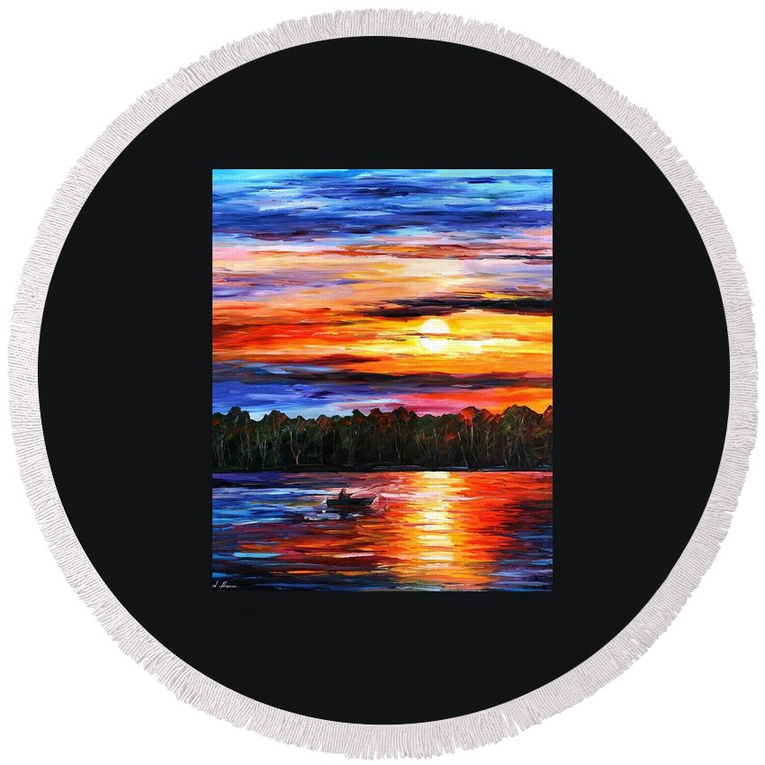 Afremov Round Beach Towel featuring the painting Fishing By Sunset by Leonid Afremov
