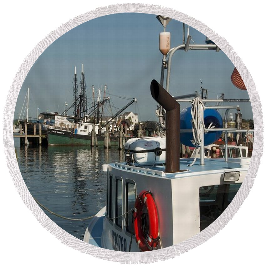 Long Round Beach Towel featuring the photograph Fishing Fleet by Steven Natanson
