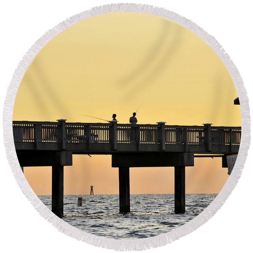 Fishing Round Beach Towel featuring the photograph Fishing Friends by David Lee Thompson