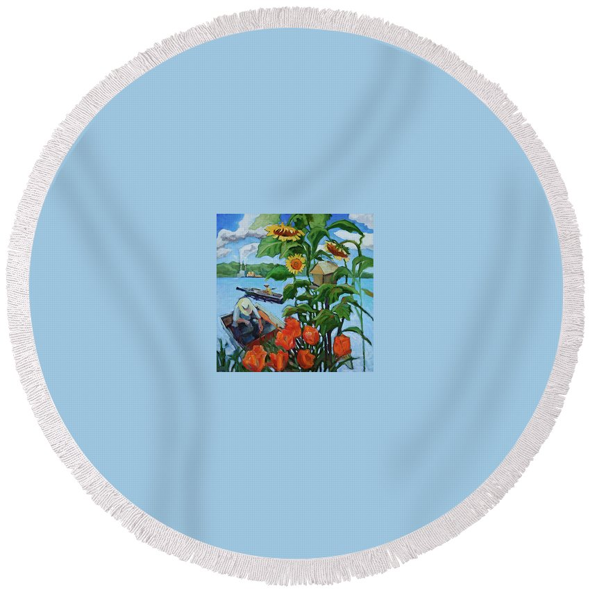 Painting Round Beach Towel featuring the painting Fishing by Jean Stark