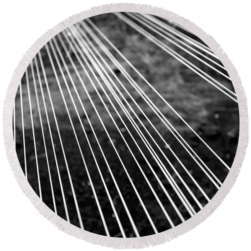 Abstract Round Beach Towel featuring the photograph Fishing Lines by Gaspar Avila