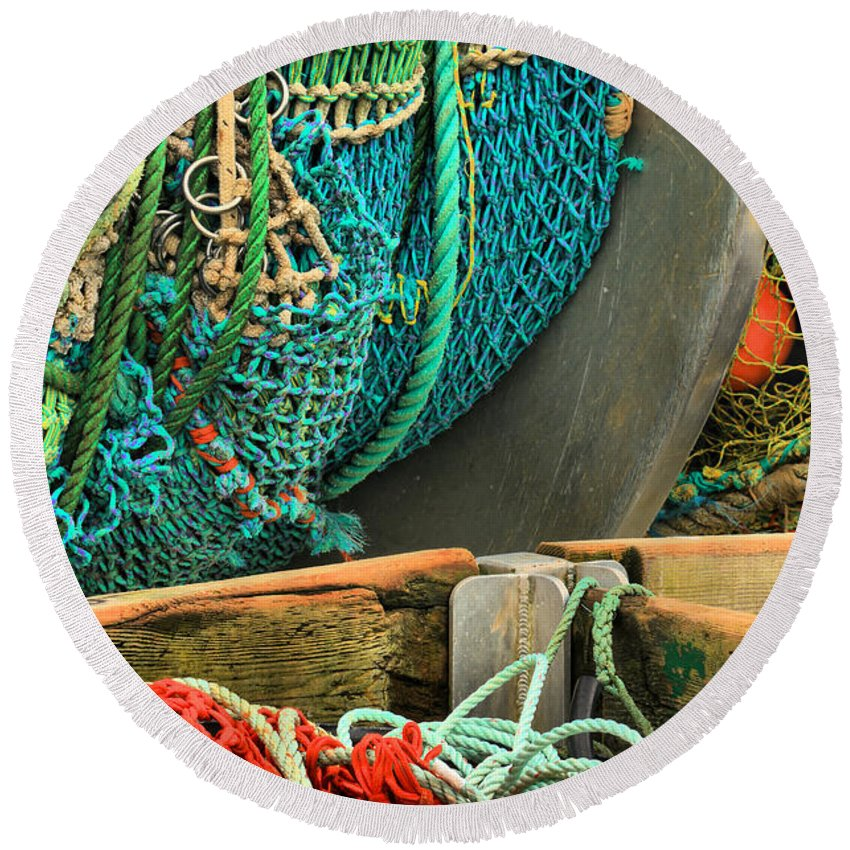 Fishing Nets Round Beach Towel featuring the photograph Fishing Net Portrait by Adam Jewell