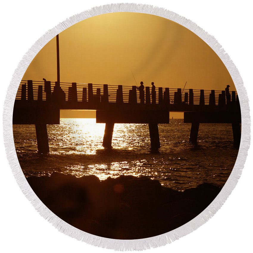 Fort De Soto Round Beach Towel featuring the photograph Fishing Off The Pier At Fort De Soto At Dusk by Mal Bray