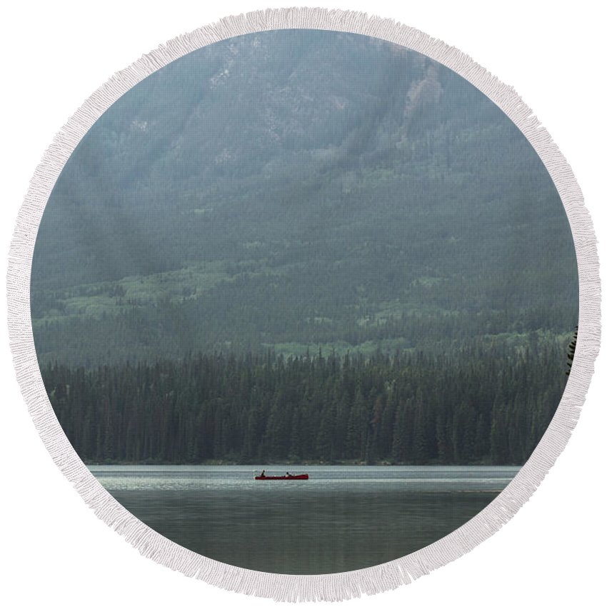 Pyramid Lake Round Beach Towel featuring the photograph Fishing On Pyramid Lake by Cale Best