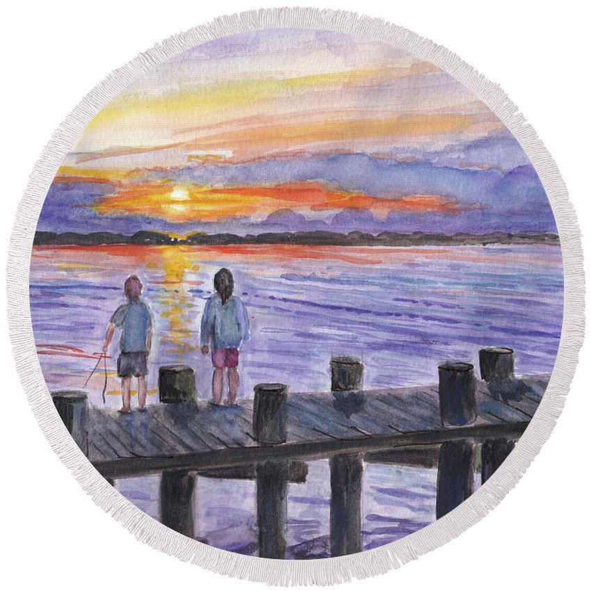 Children Round Beach Towel featuring the painting Fishing On The Dock by Clara Sue Beym