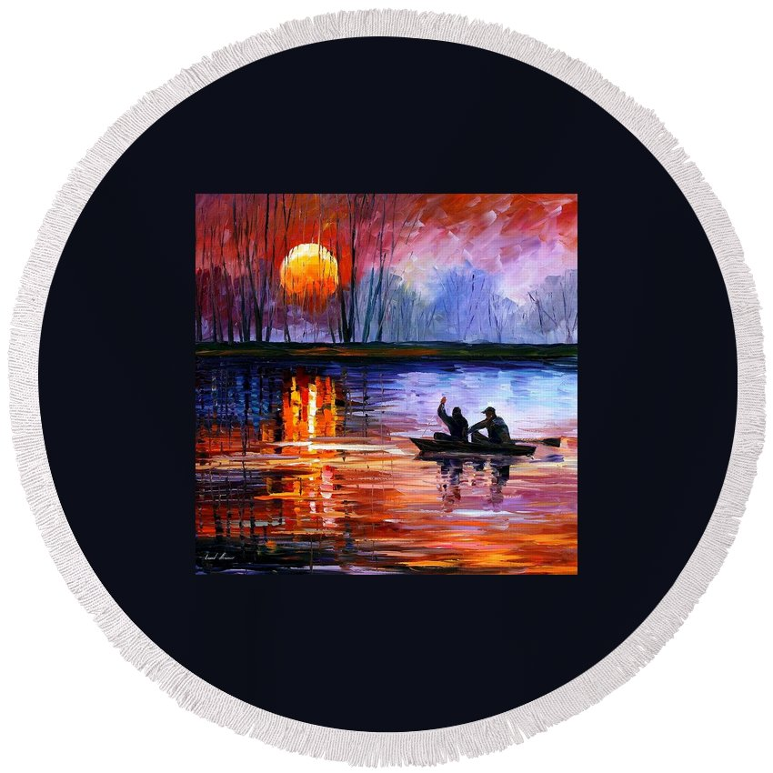 Seascape Round Beach Towel featuring the painting Fishing On The Lake by Leonid Afremov