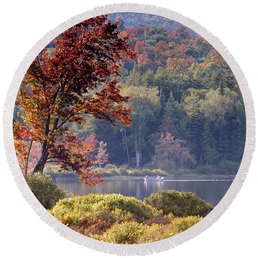 Adirondack Mountains Round Beach Towel featuring the photograph Fishing The Adirondacks by David Lee Thompson