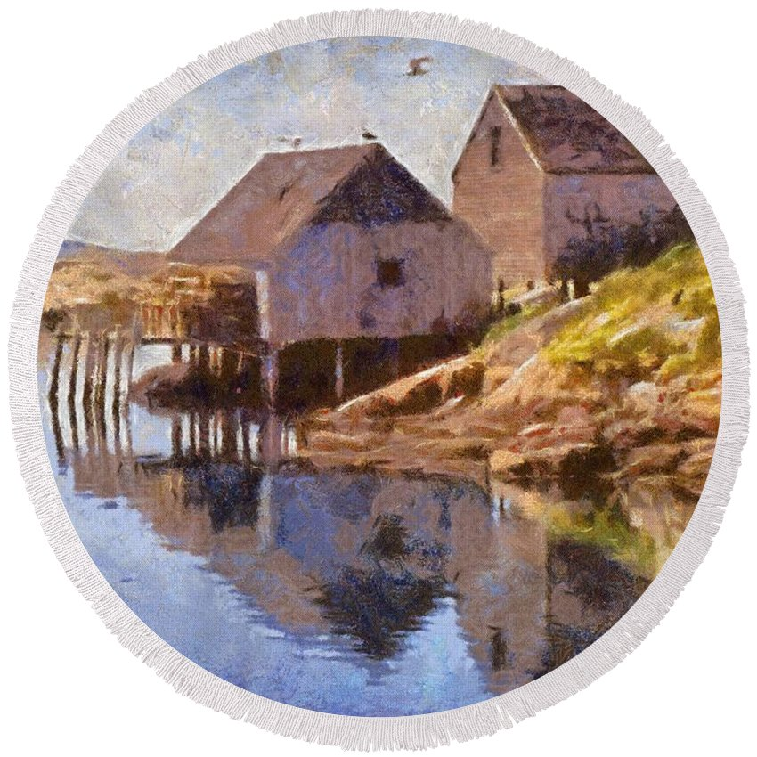 Canadian Round Beach Towel featuring the painting Fishing Wharf by Jeffrey Kolker