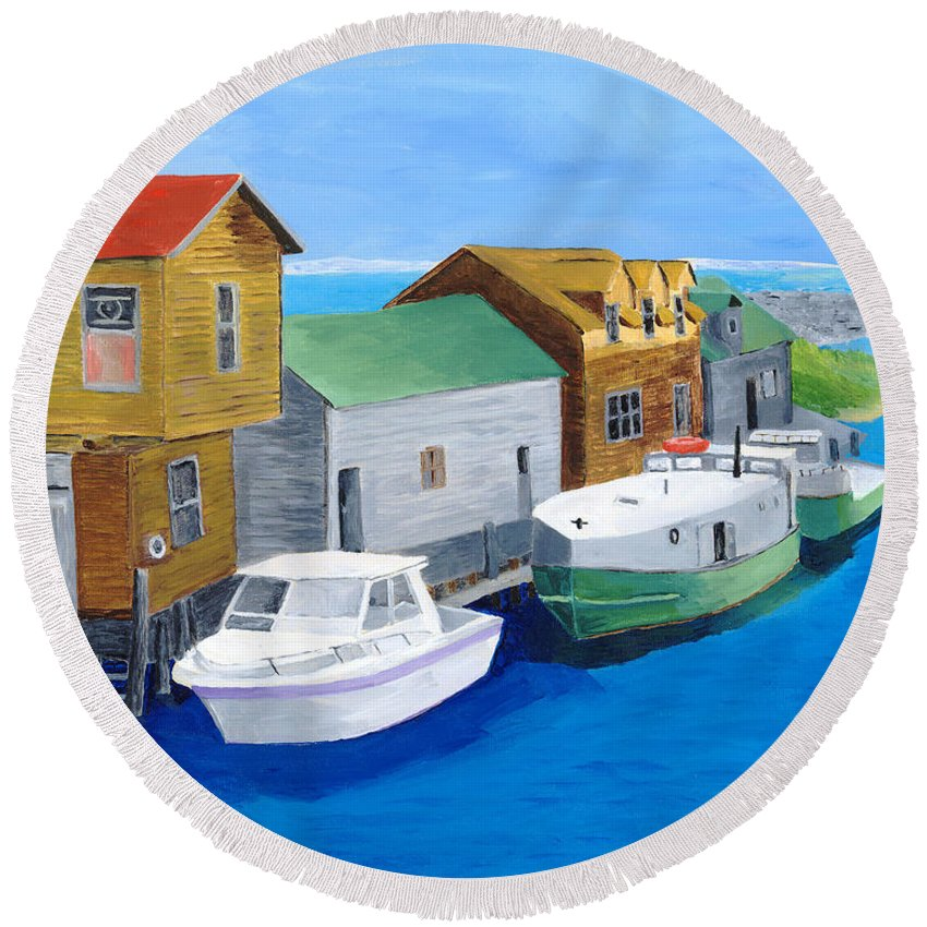 Fishtown Round Beach Towel featuring the painting Fishtown by Rodney Campbell