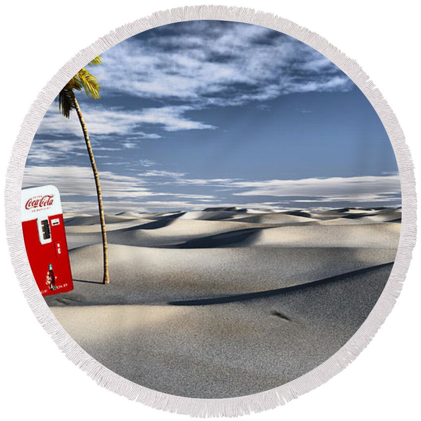 Deserts Round Beach Towel featuring the digital art Five Cent Oasis by Richard Rizzo