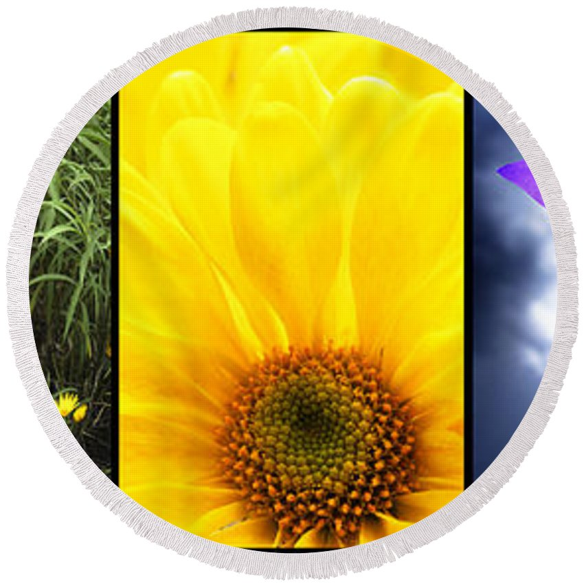 Montage Round Beach Towel featuring the photograph Five Flower Composite by Donald Erickson
