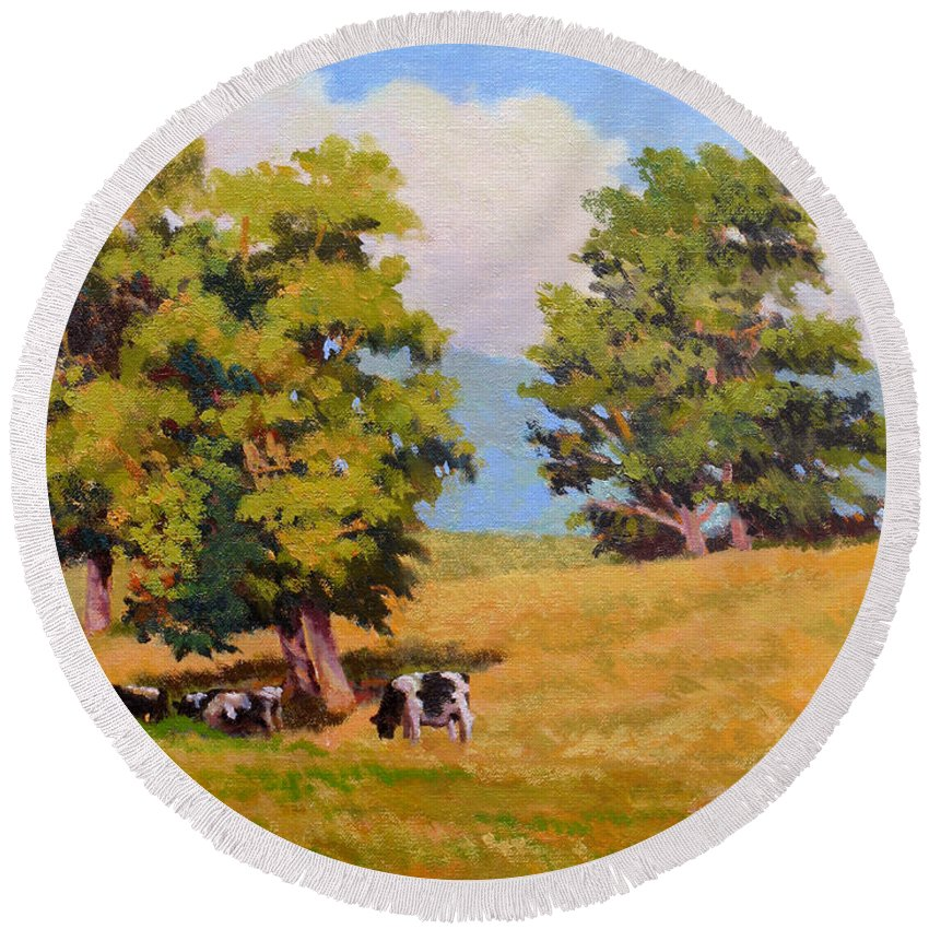 Landscape Round Beach Towel featuring the painting Five Oaks by Keith Burgess