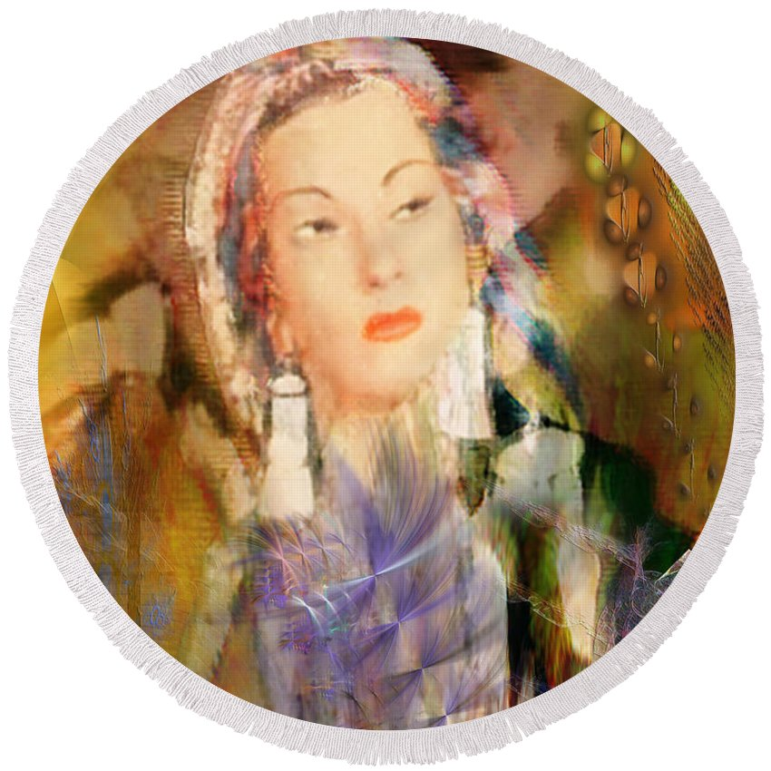Round Beach Towel featuring the digital art Five Octaves - Tribute To Yma Sumac by John Beck