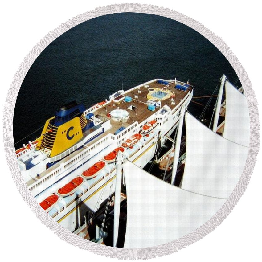 Five Sails Round Beach Towel featuring the photograph Five Sails And A Ship by Will Borden