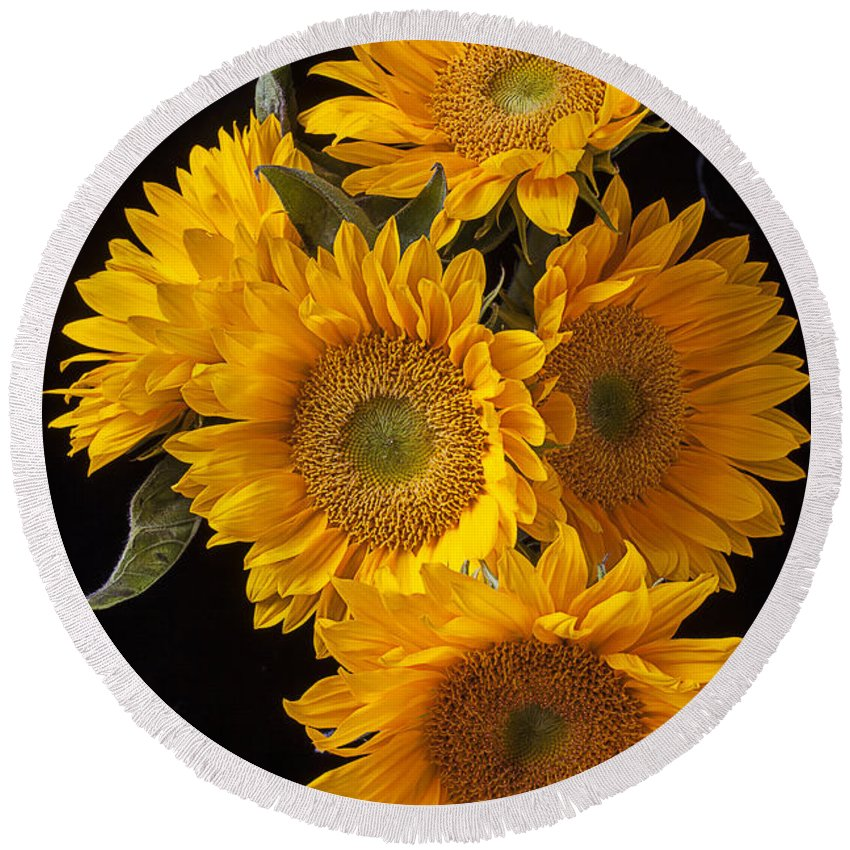 Five Round Beach Towel featuring the photograph Five Sunflowers by Garry Gay