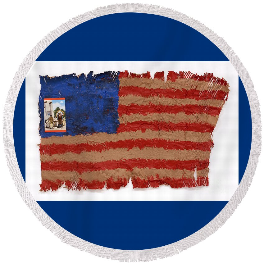 Flag Round Beach Towel featuring the mixed media Flag 2 by Jaime Becker