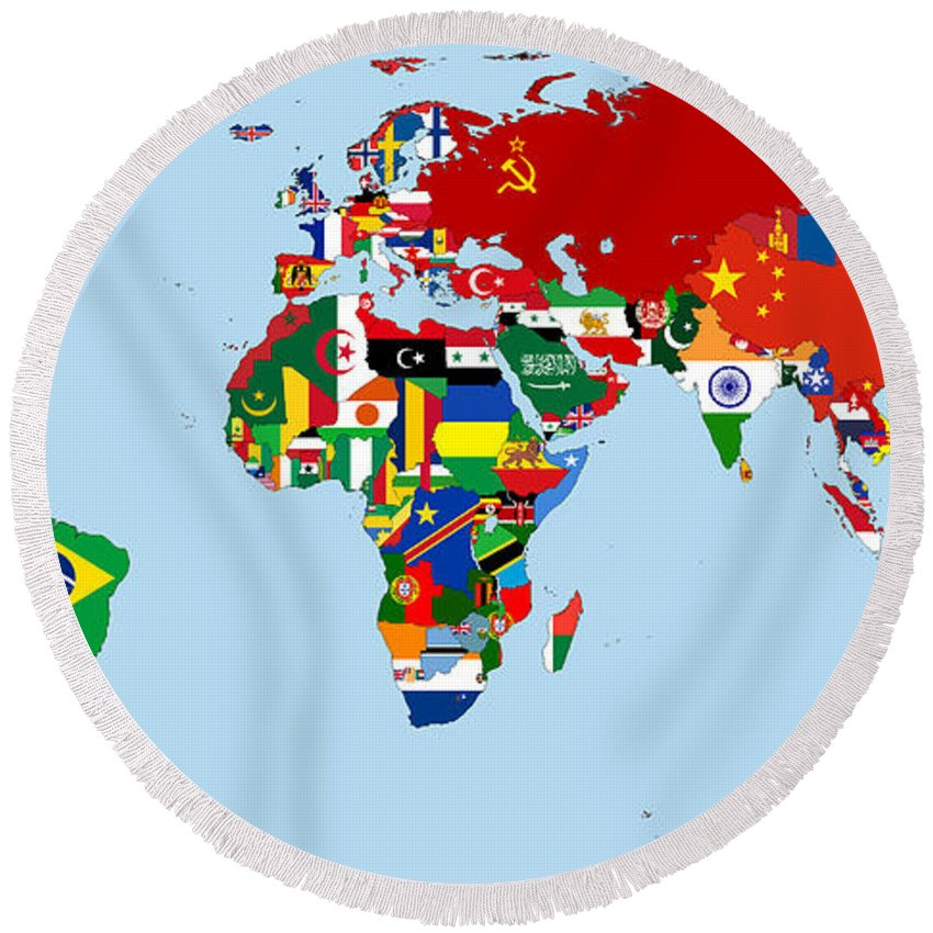 Flag map of the world 1965 round beach towel for sale by movie flags round beach towel featuring the digital art flag map of the world 1965 by movie gumiabroncs Image collections