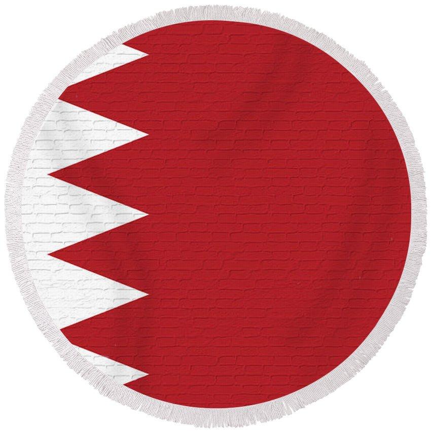 Flag Of Bahrain Round Beach Towel featuring the digital art Flag Of Bahrain Wall. by Roy Pedersen