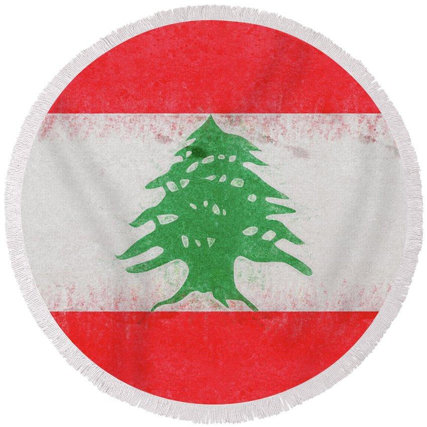 Arab Round Beach Towel featuring the digital art Flag Of Lebanon Grunge by Roy Pedersen