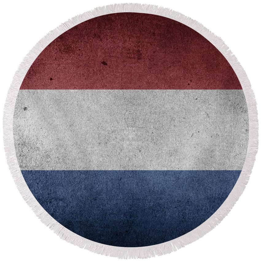 Logo Round Beach Towel featuring the mixed media flag of the Netherlands by FL collection