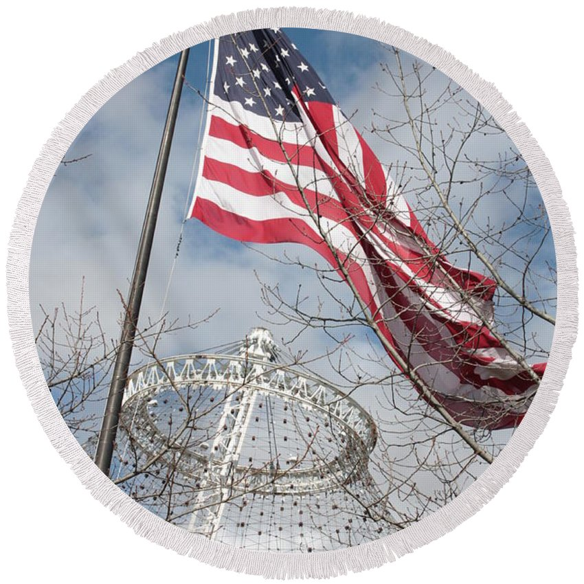 American Flag Round Beach Towel featuring the photograph Flag Over Spokane Pavilion by Carol Groenen