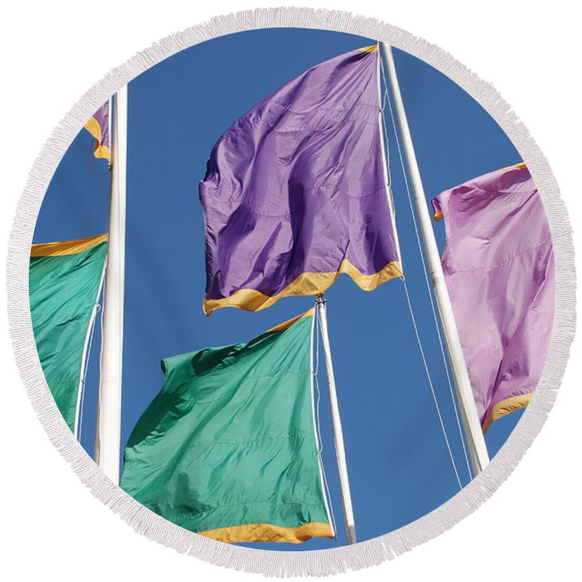Flags Round Beach Towel featuring the photograph Flags by Rob Hans
