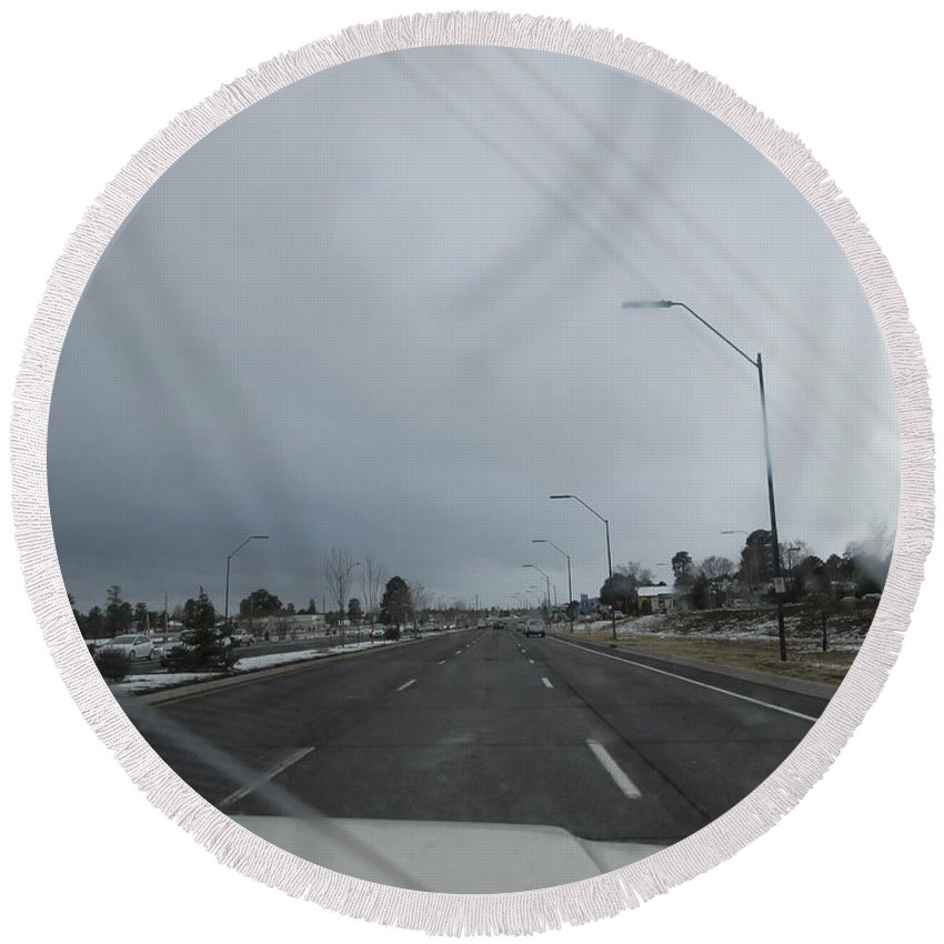 Flagstaff Round Beach Towel featuring the photograph Flagstaff Traffic by Frederick Holiday