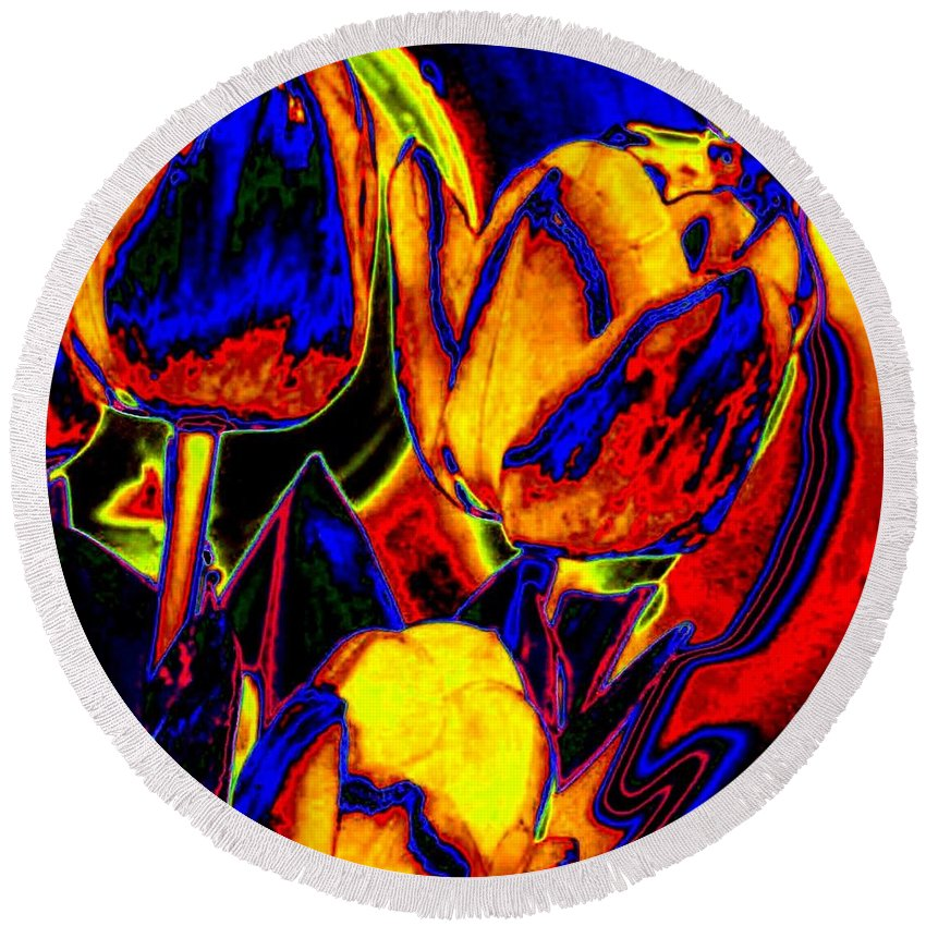 Abstract Round Beach Towel featuring the digital art Flamboyant Tulips by Will Borden