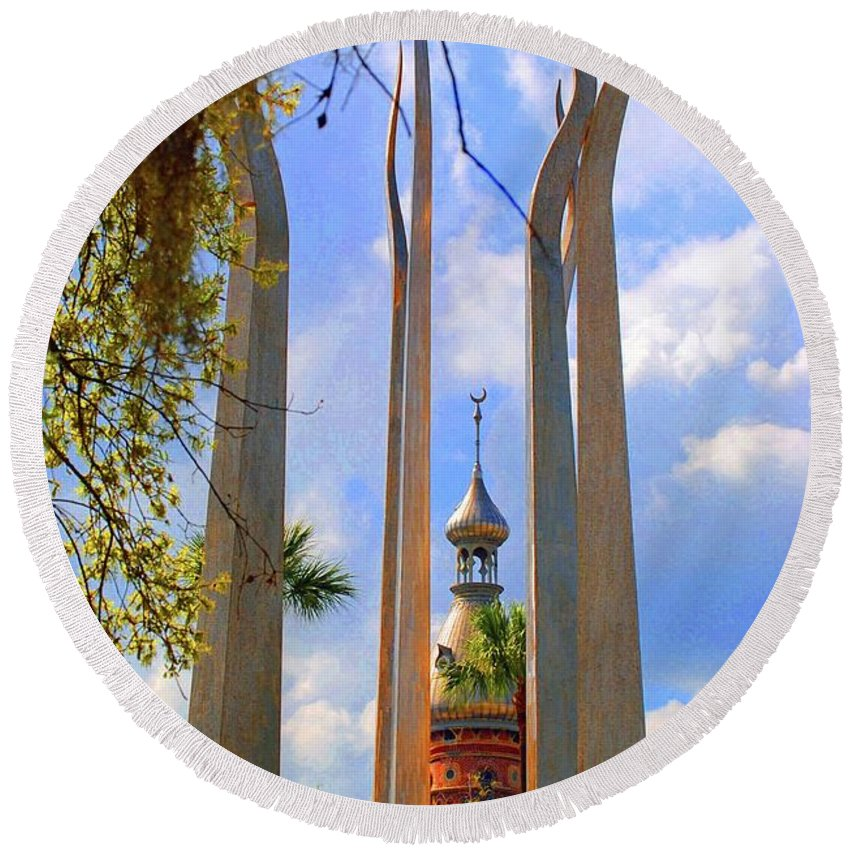 University Of Tampa Round Beach Towel featuring the photograph flame of the Sky by Jost Houk