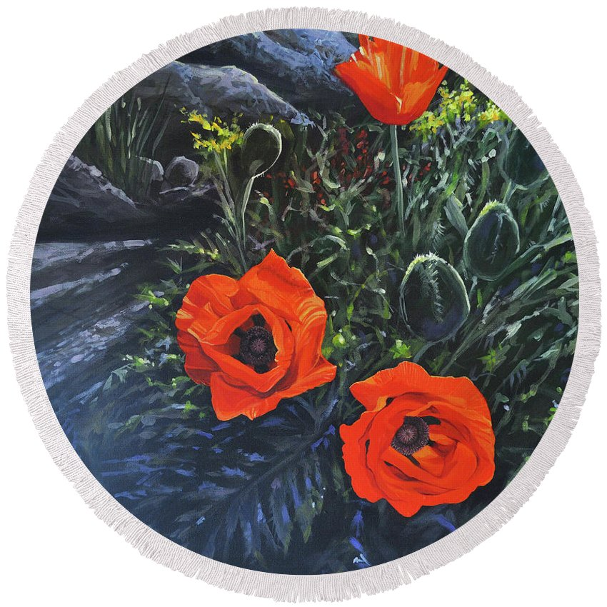 Poppy Round Beach Towel featuring the painting Flame of the West by Hunter Jay