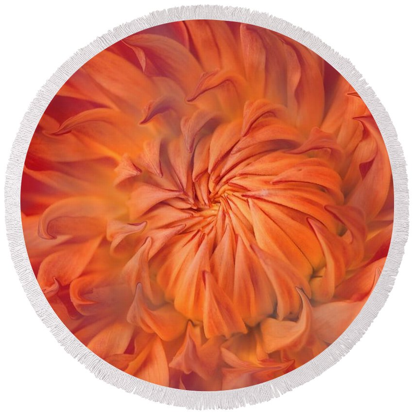 Flower Round Beach Towel featuring the photograph Flame by Jacky Gerritsen